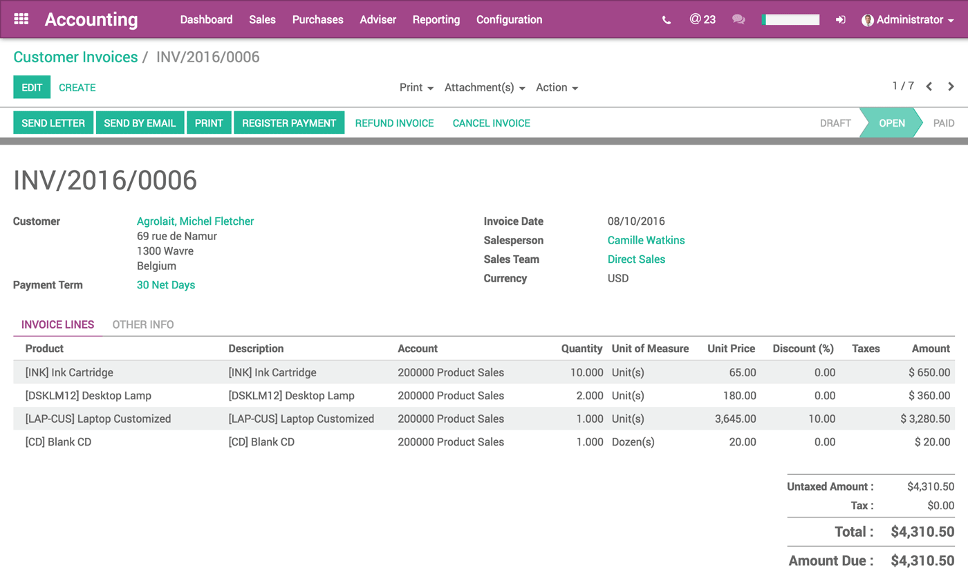 Sales Management - Fully integrated invoicing